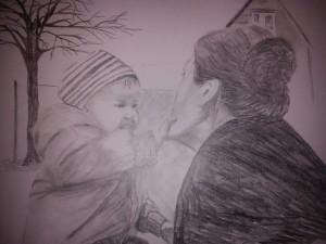 Anna med farmor. Tecknare: Sara Brännholm